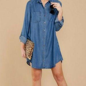 Style & Co Womens Chambray Button Up Tunic Dress L
